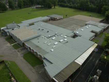 Aerial shot of Holy Trinity Lamorbey CE Primary School roof replacement, boiler renewal and various other works.